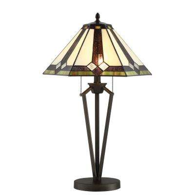 25.5 in. Dark Bronze Table Lamp with Tiffany Shade