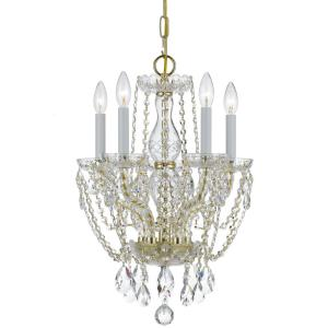 Traditional Crystal 5-Light Clear Crystal Brass Mini Chandelier I