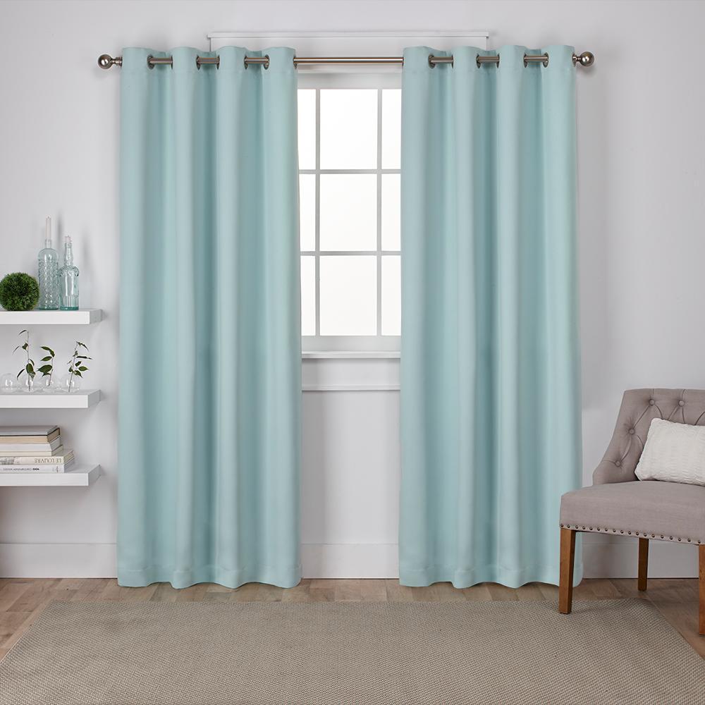 Sateen Seafoam Twill Weave Blackout Grommet Top Window Curtain