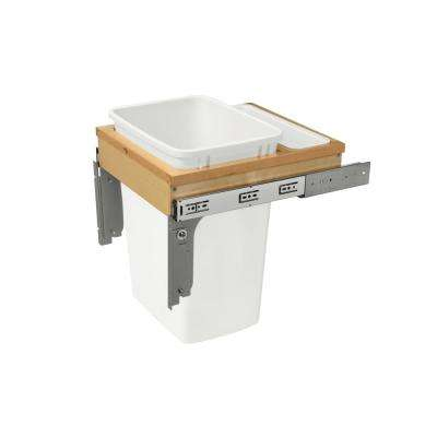 18 in. H x 14.75 in. W x 18 in. D Single 35Qt. Pull-Out Top Mount Wood and Silver Waste Container for 1-5/Face Frame