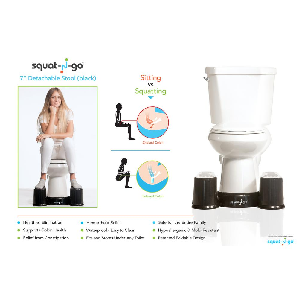 Groovy Squat N Go 7 In Black Detachable Space Saver Toilet Stool Machost Co Dining Chair Design Ideas Machostcouk