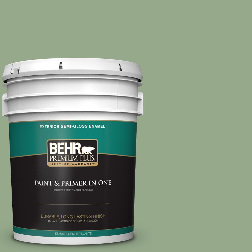 5 gal. #PPU11-05 Pesto Green Semi-Gloss Enamel Exterior Paint