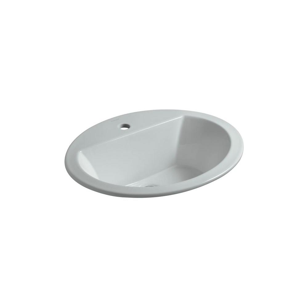 Bryant Drop-In Vitreous China Bathroom Sink in Ice Grey with Overflow