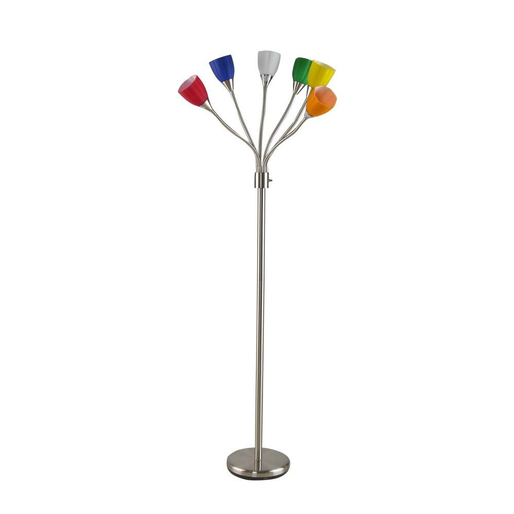 Brushed Nickel 6 Head Floor Lamp With Multi Color Glass Shades