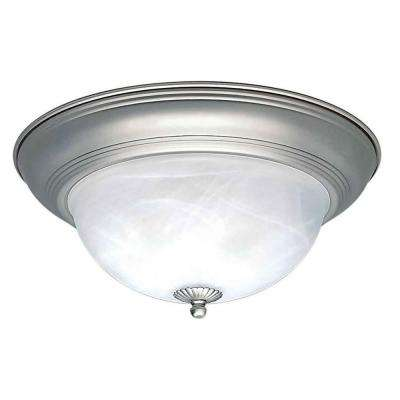 Zain 3-Light Brushed Nickel Flushmount with Marble Glass
