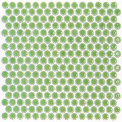 Bliss Edged Penny Round Polished Wheat Grass Ceramic Mosaic Floor and Wall Tile - 3 in. x 6 in. Tile Sample