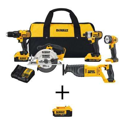 20-Volt MAX Lithium-Ion Cordless Combo Kit with 2 Ah and 4 Ah Batteries and Tool Bag with Bonus 4.0 Ah Battery (5-Tool)