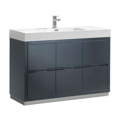 Valencia 48 in. W Bathroom Vanity in Dark Slate Gray with Double Acrylic Vanity Top in White