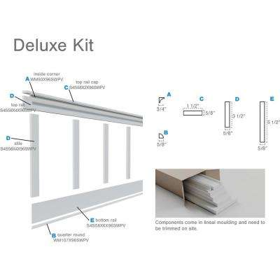 """5/8 in. X 96 in. X 32 in. Expanded Cellular PVC Deluxe Shaker Wainscoting Moulding Kit (for heights up to 32""""H)"""