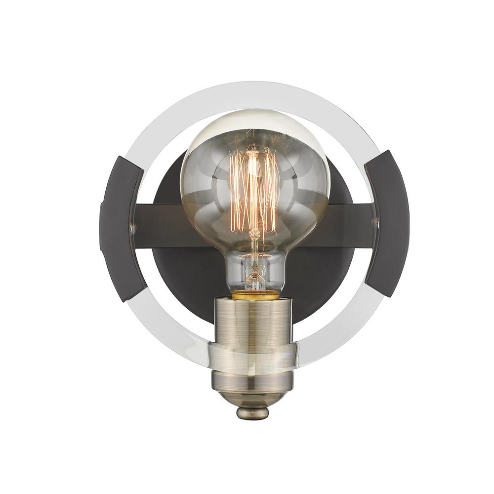 Amari 1-Light Black with Aged Brass Accents Wall Sconce
