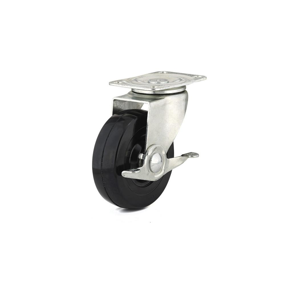 4 in. General-Duty Rubber Swivel Caster with Brake