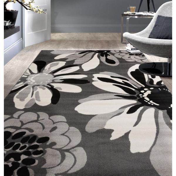 World Rug Gallery Modern Floral Flowers Gray 3 Ft 3 In X 5 Ft Indoor Area Rug 374 Gray 3x5 The Home Depot