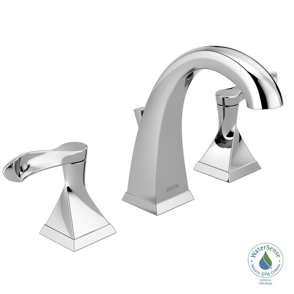 Delta Everly 8 in. Widespread 2-Handle Bathroom Faucet in Chrome ...