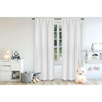 Deonna White Room Darkening Pole Top Panel Pair - 37 in. W x 84 in. L in (2-Piece)