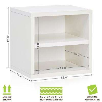 Connect System 13.4 in. x 12.6 in. zBoard Stackable Storage 1-Cube Organizer Unit with Shelf in Pearl White