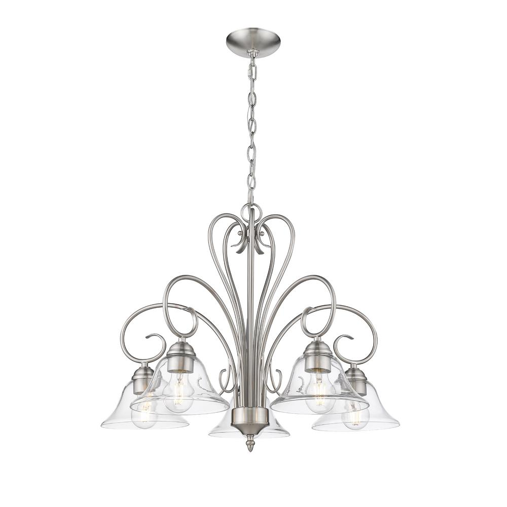 Golden Lighting Homestead 5 Light Pewter Nook Chandelier With Clear Gl