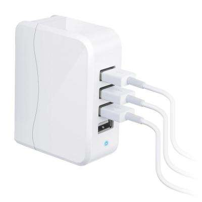 Quatro 25-Watt 4-Port USB Charger, White