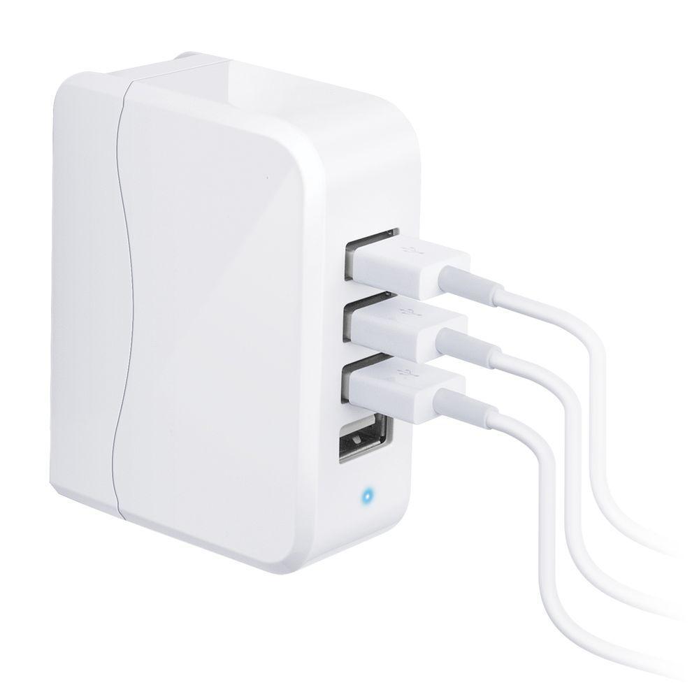 Quatro 25-Watt 4-Port USB Charger, White