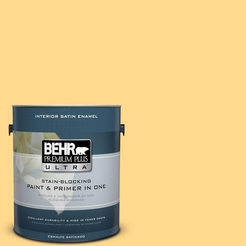 BEHR Premium Plus Ultra 1-gal. #P270-4 Egg Cream Satin Enamel Interior Paint
