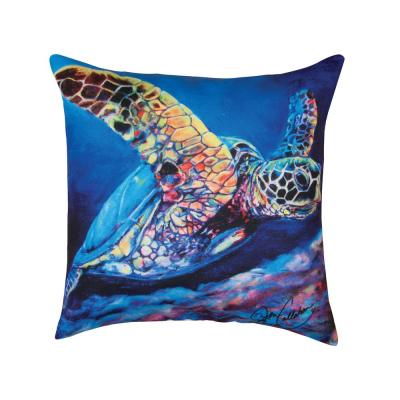 Sea Turtle Ascending Blue Geometric Down Alternative 18 in. x 18 in. Throw Pillow