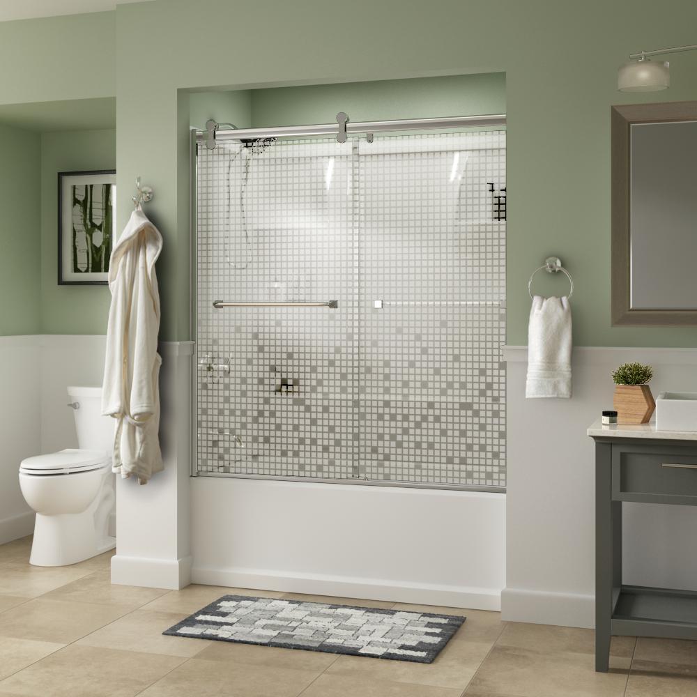 60 In X 56 38 In Framed Sliding Bathtub Door Kit In Silver With