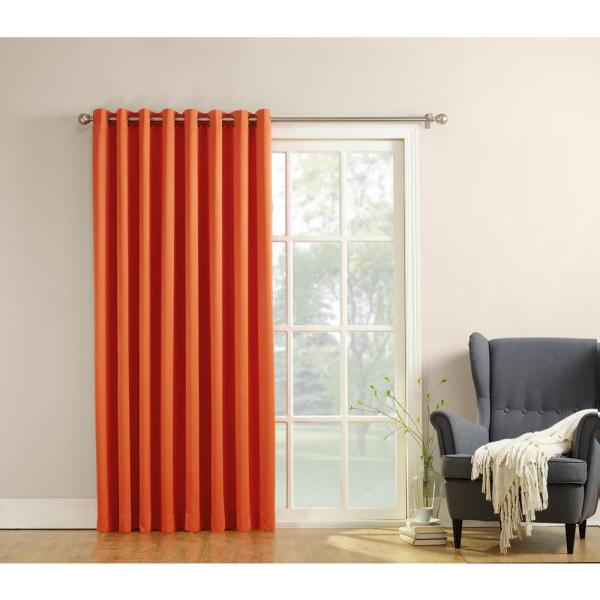 Semi-Opaque Gregory 100 in. by 84 in. Solid Window Patio Panel in Tangerine
