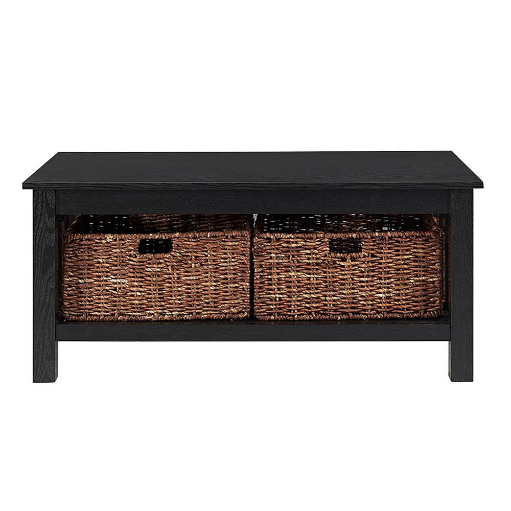 Walker Edison Furniture Company Stanford Black Storage Coffee Table Hd40mstbl The Home Depot