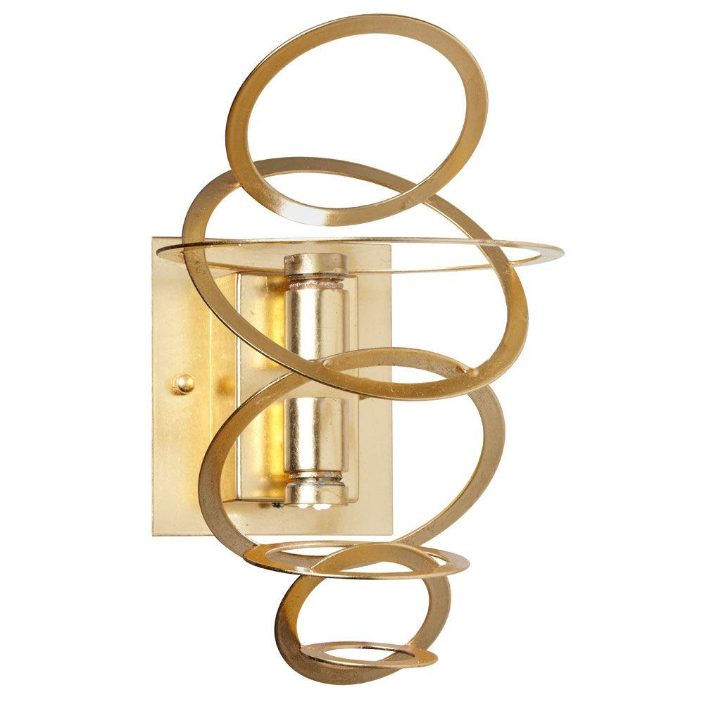 Radionic Hi Tech Janus 2-Light Gold Tiered Ring Sconce