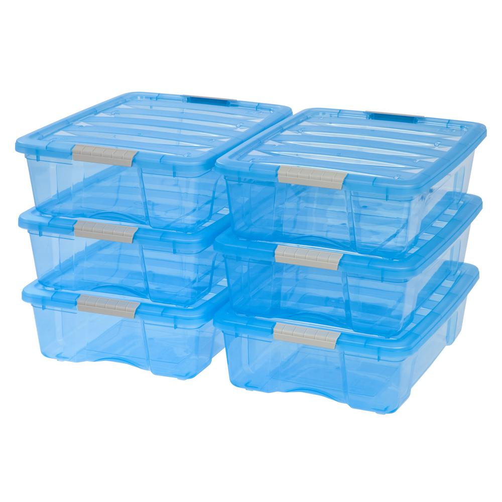 26-Qt. Stack and Pull Storage Box in Trans Blue (6-Pack)