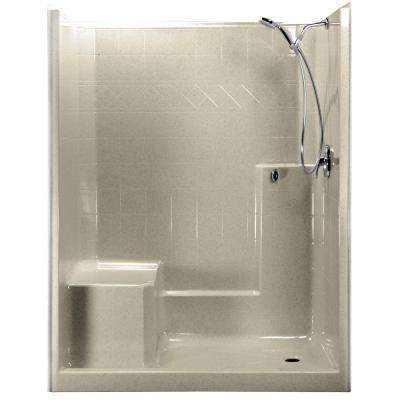 60 in. x 33 in. x 77 in. 1-Piece Low Threshold Shower Stall in Beach, Shower Kit, Left Hand Side Seat, Right Drain