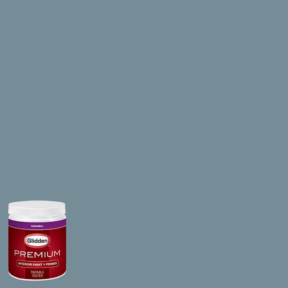 Glidden Premium 8 Oz Hdgb52u Stormy Sky Blue Eggshell Interior Paint Sample With Primer