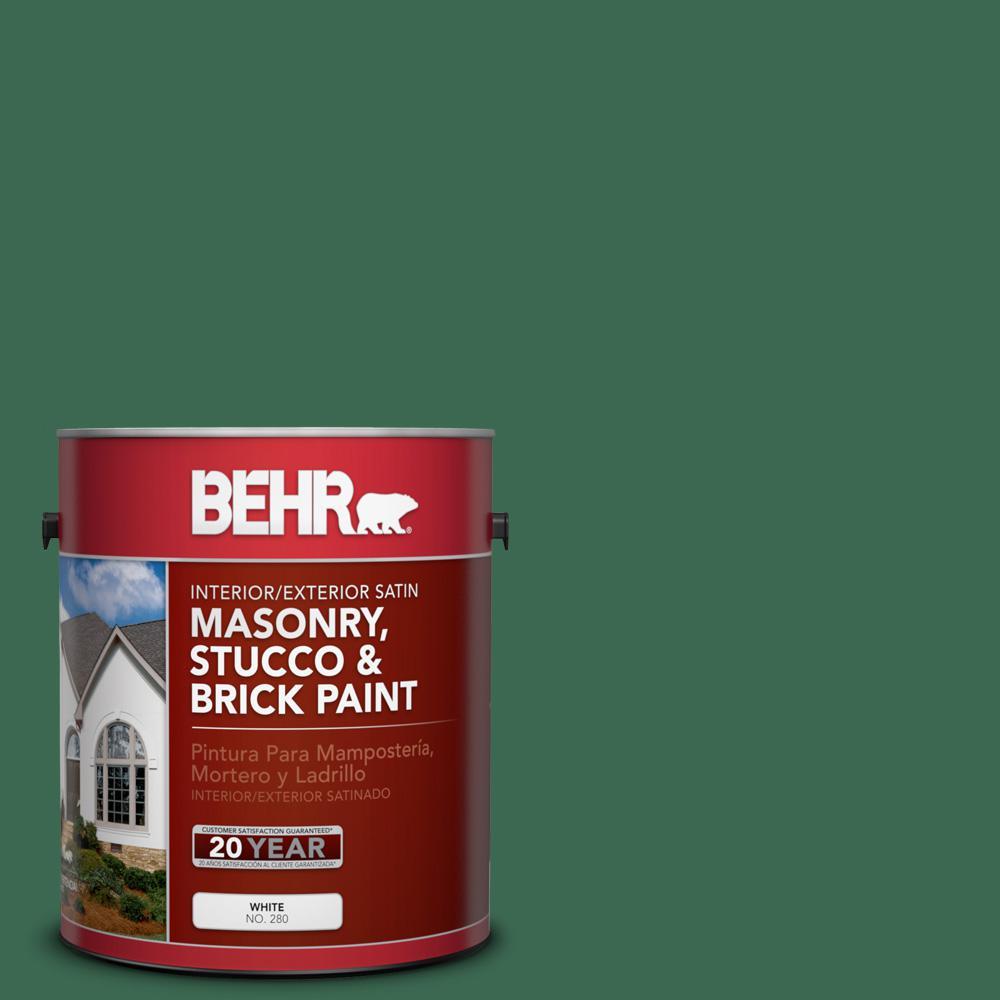 1 gal. #M410-7 Perennial Green Satin Interior/Exterior Masonry, Stucco and Brick