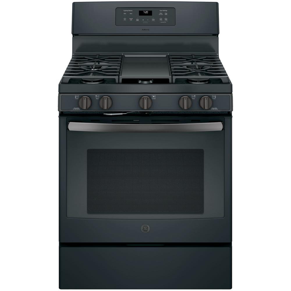 GE Adora 5.0 cu. ft. Gas Range with Self-Cleaning Convection Oven in Black Slate, Fingerprint Resistant