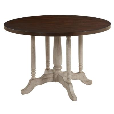 Winslet Gingerbread and White Round Dining Table