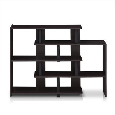 Turn-N-Tube 30.24 in. Espresso/Black Faux Wood 6-shelf Etagere Bookcase with Open Back