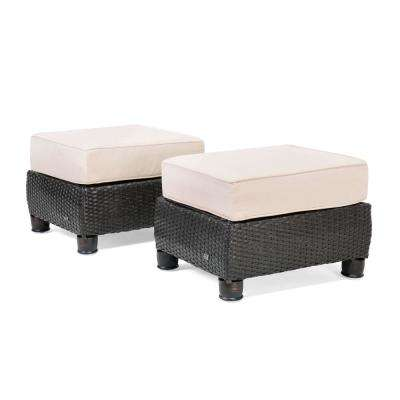 Breckenridge 2-Piece Wicker Outdoor Ottoman Set with Sunbrella Spectrum Sand Cushion