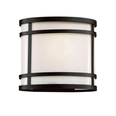 1-Light Black Outdoor Wall Lantern with Frosted Glass