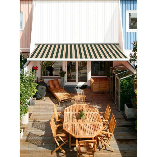 Advaning 12 Ft Luxury L Series Semi Cassette Manual Retractable Patio Awning 118 In Projection In Green Beige Stripes Ma1210 A808h2 The Home Depot