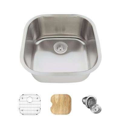All-in-One Undermount Stainless Steel 20 in. Single Bowl Bar Sink