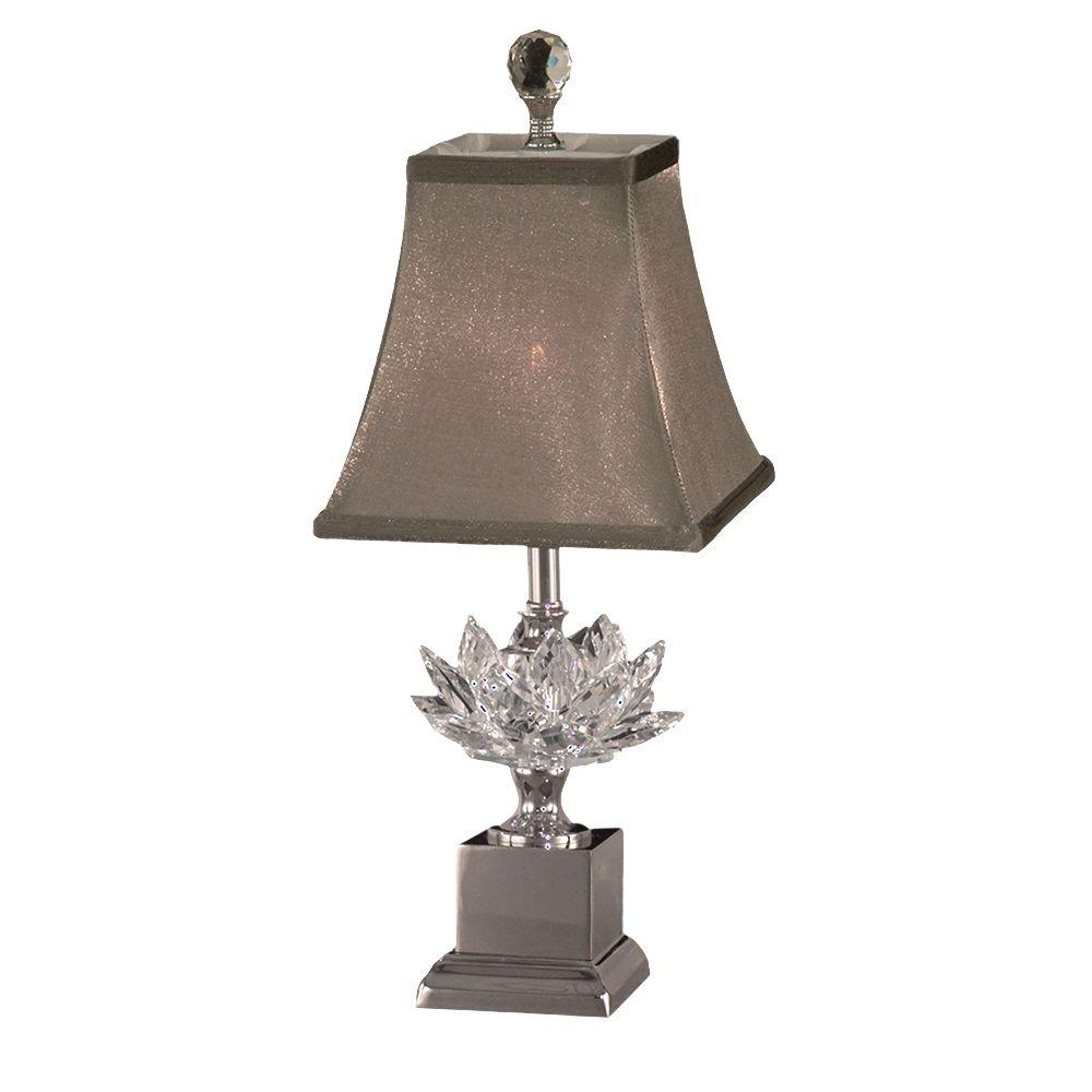 Dale Tiffany 17.25 in. Lucinda Polished Nickel Accent Lamp with Crystal Shade
