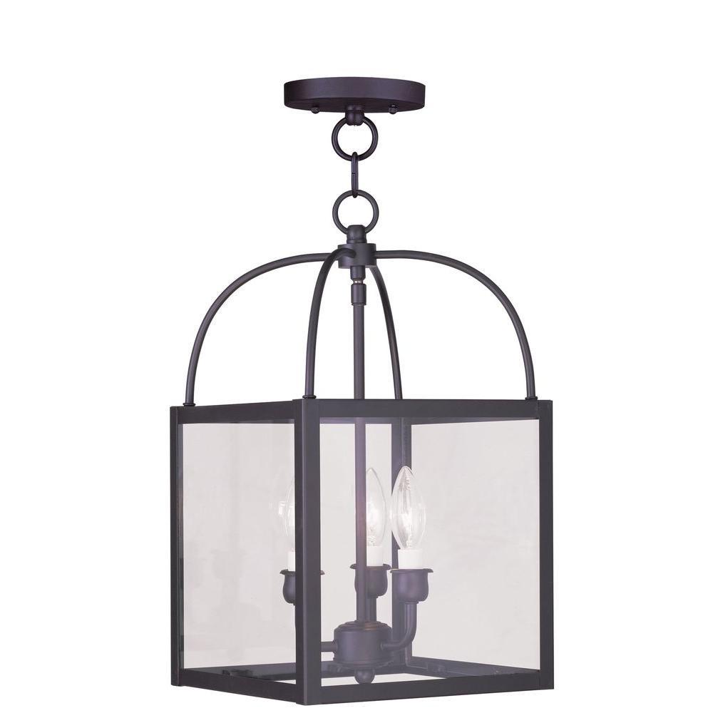Hand Applied Venetian Golden Bronze Livex Lighting 6420-71 Chesterfield 3 Light Convertible Hanging Lantern//Ceiling Mount