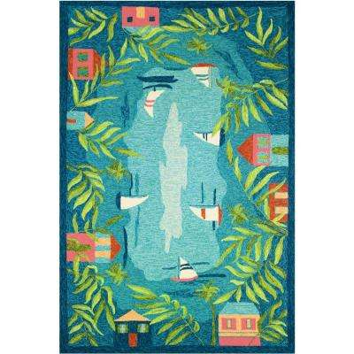 Sail Away Blue 8 ft. x 10 ft. Indoor/Outdoor Area Rug