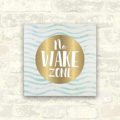 12 in. x 12 in. No Wake Zone 1-Piece Wrapped Canvas with Foil