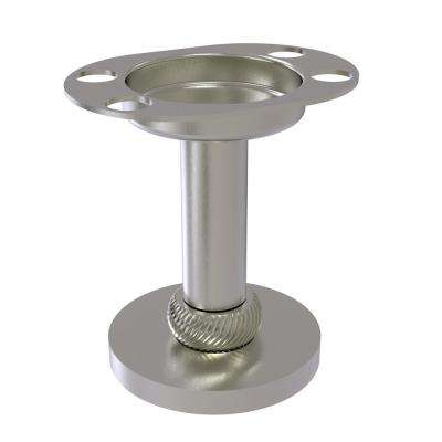 Vanity Top Tumbler and Toothbrush Holder with Twisted Accents in Satin Nickel