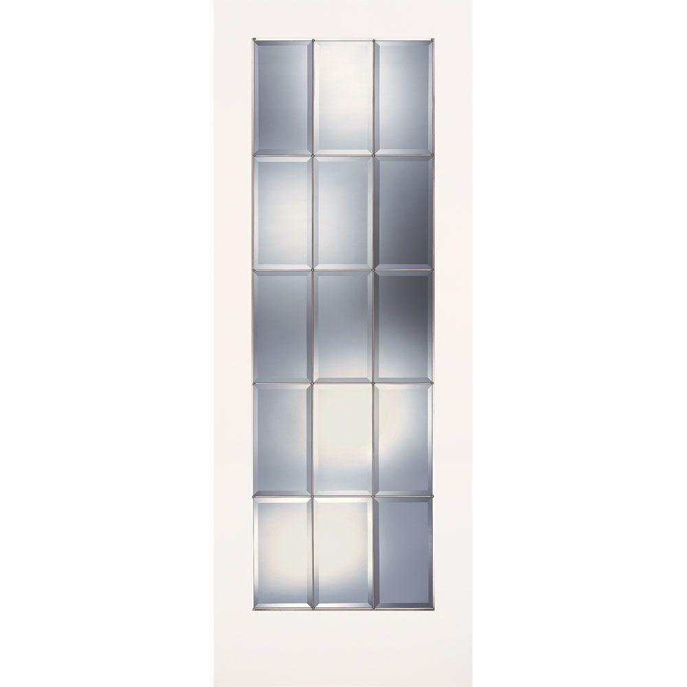 Feather River Doors 30 in. x 80 in. 15 Lite Clear Bevel Zinc Smooth Primed MDF Interior Door Slab