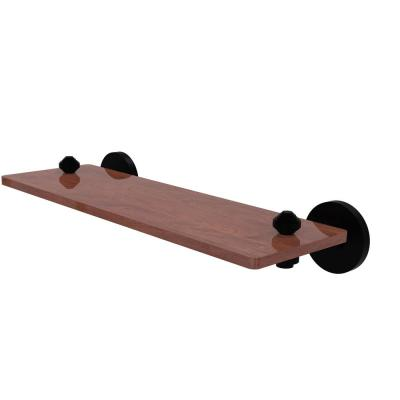 South Beach Collection 16 in. Solid IPE Ironwood Shelf in Matte Black