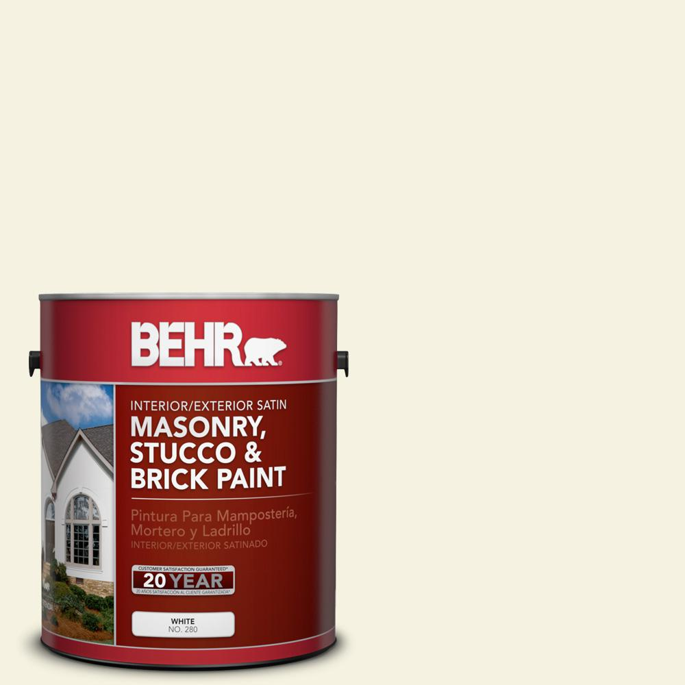 BEHR 1 gal. #BWC-03 Lively White Satin Interior/Exterior Masonry, Stucco and Brick Paint