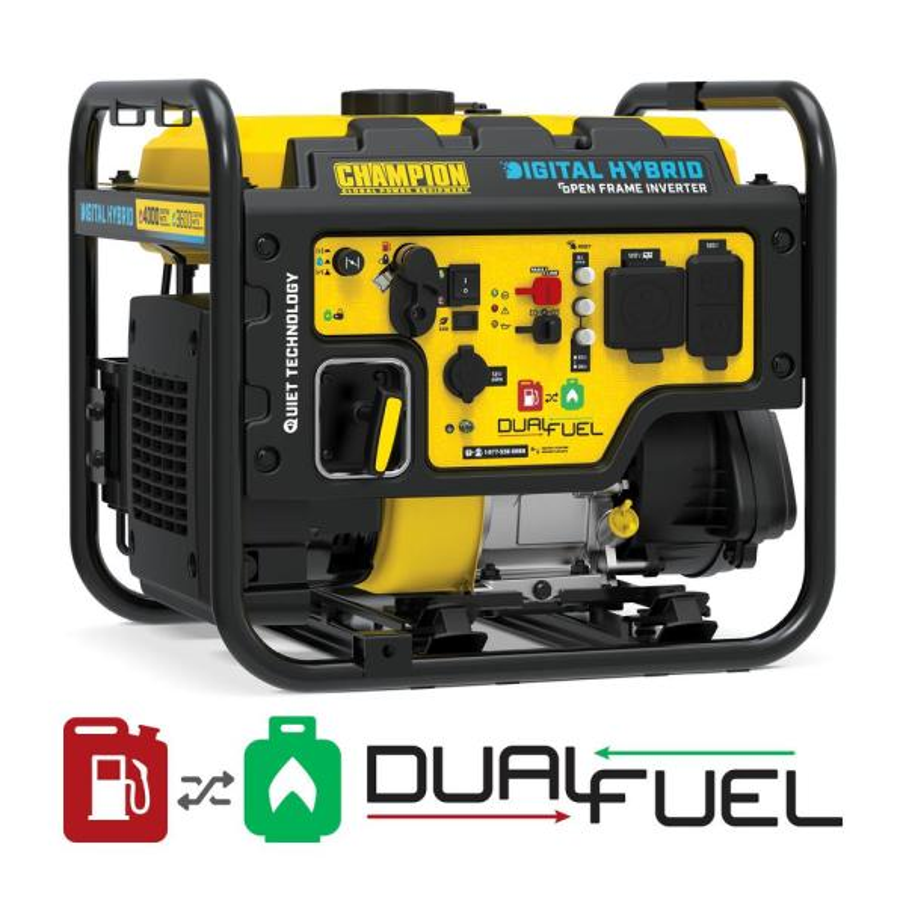 DH 4000-Watt Recoil Start Dual Fuel Powered Open Frame Inverter Generator with 224 cc Engine
