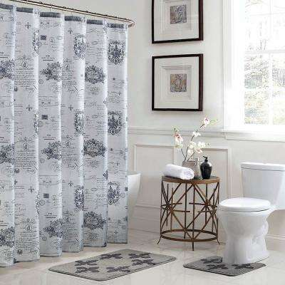Fleur De Lis 18 in. x 30 in. Bath Rug and 72 in. x 72 in. Shower Curtain 15-Piece Set in Grey