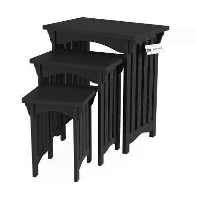 Black Wooden Traditional Nesting Side Tables with Mission Style Legs (Set of 3)